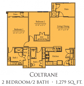 1,279 sq. ft. Coltrane/50% floor plan