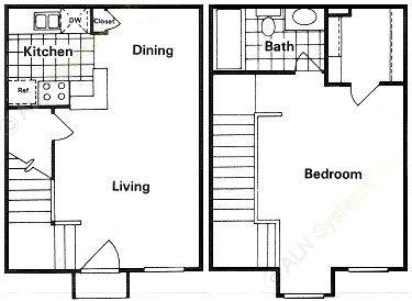 644 sq. ft. floor plan
