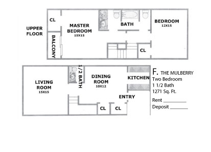 1,271 sq. ft. Mulberry floor plan