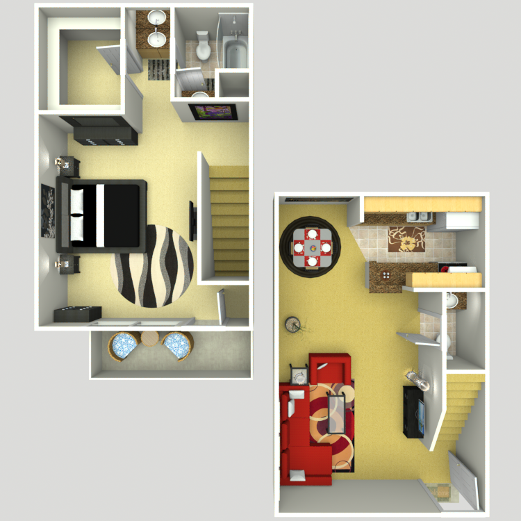816 sq. ft. E floor plan