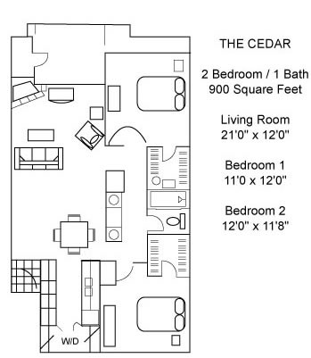 900 sq. ft. CEDAR floor plan