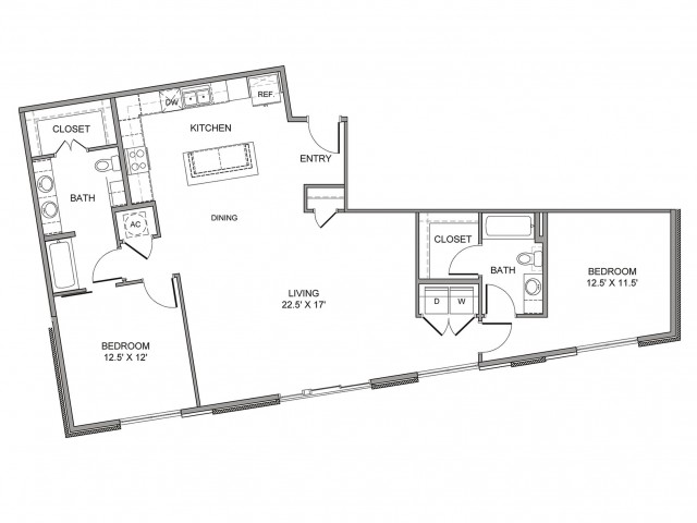 1,395 sq. ft. Cesar Chavez floor plan