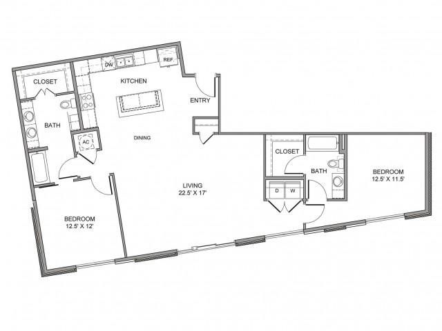 1,395 sq. ft. Cesar Chavez floor plan