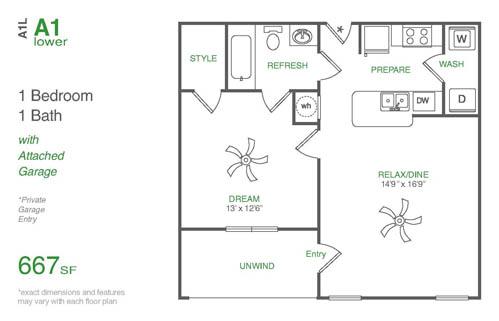 667 sq. ft. A1L floor plan