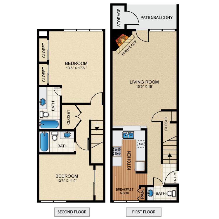 1,335 sq. ft. B5 floor plan