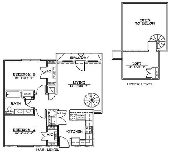 1,022 sq. ft. B5L floor plan