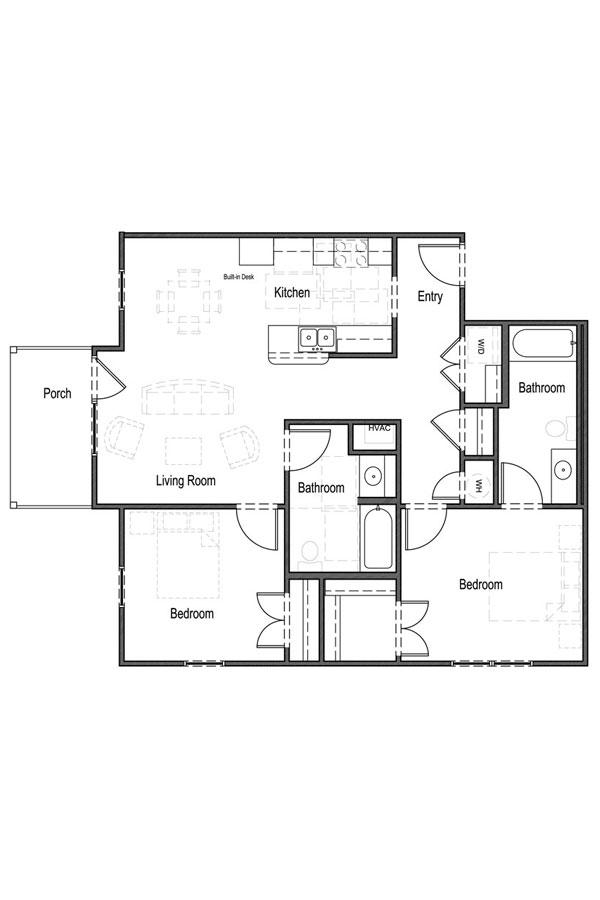 1,000 sq. ft. B3 60% floor plan