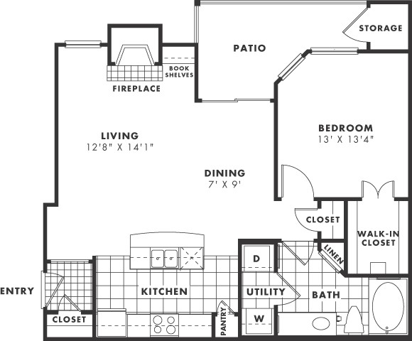 795 sq. ft. PH II floor plan