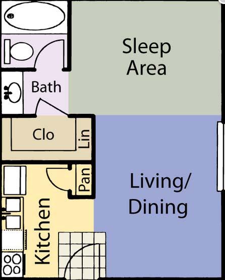 402 sq. ft. E1 floor plan