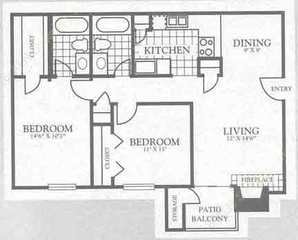 900 sq. ft. 3B1 floor plan