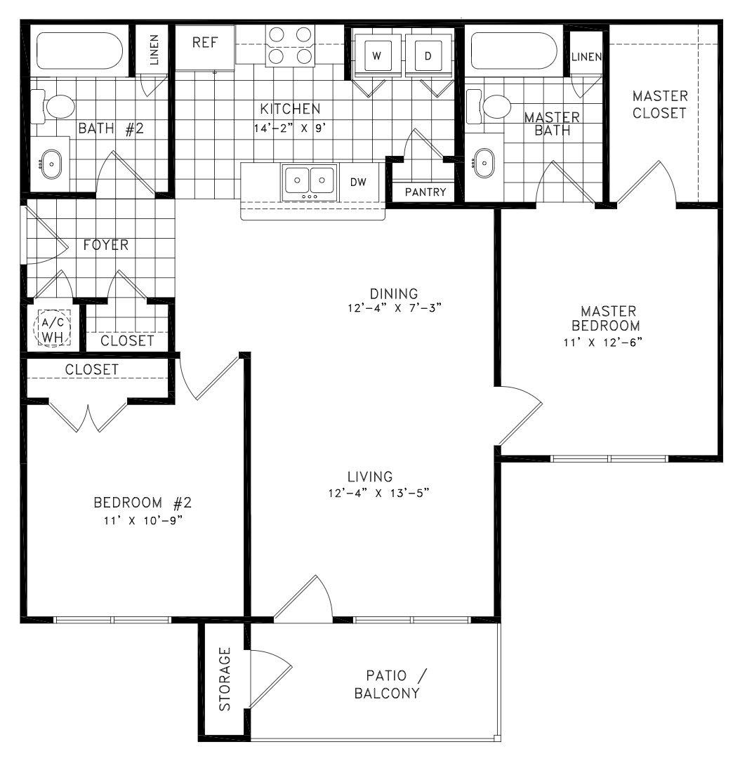 990 sq. ft. Beaumont floor plan