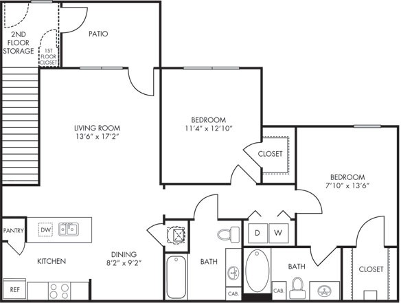 1,016 sq. ft. Sierra floor plan