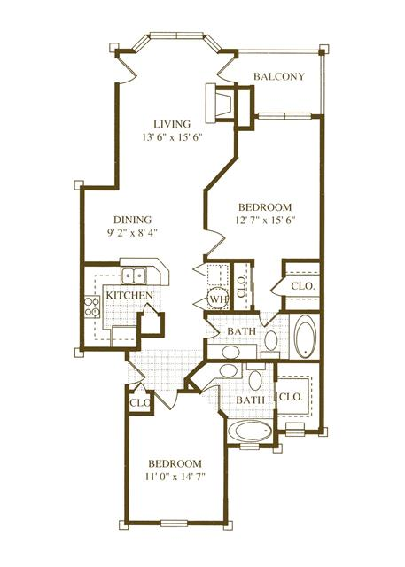 1,135 sq. ft. B1 floor plan