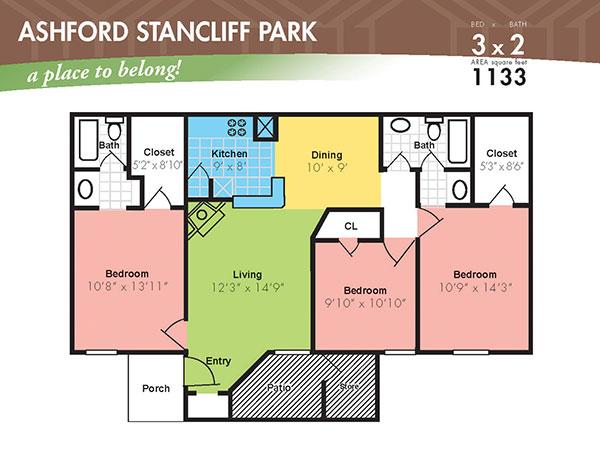 1,133 sq. ft. K floor plan