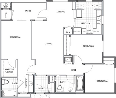 1,178 sq. ft. to 1,198 sq. ft. DERBY/60% floor plan