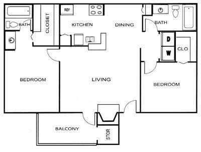 866 sq. ft. B1 floor plan