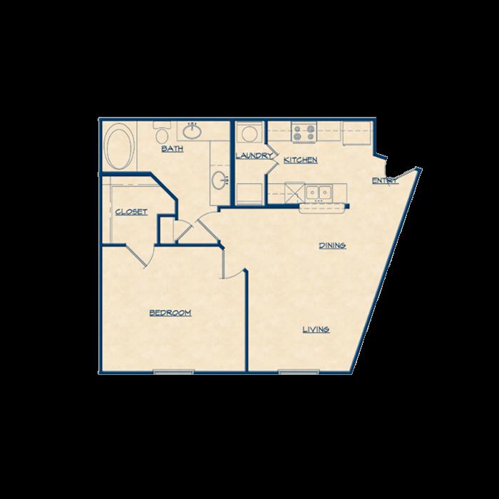 735 sq. ft. A4 floor plan