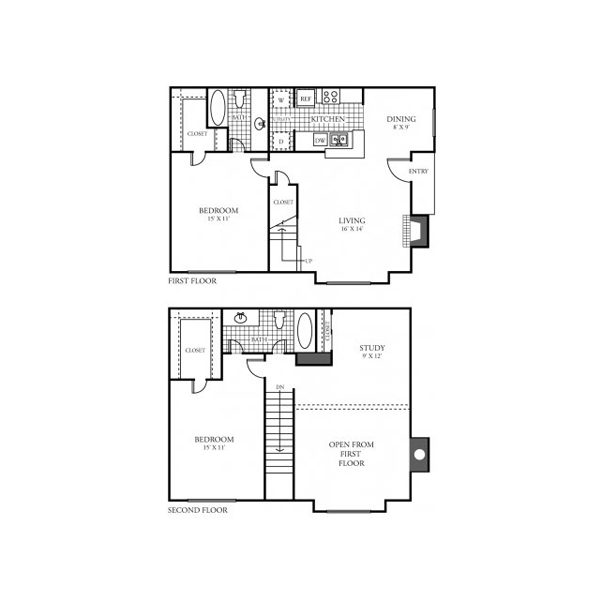 1,229 sq. ft. E floor plan
