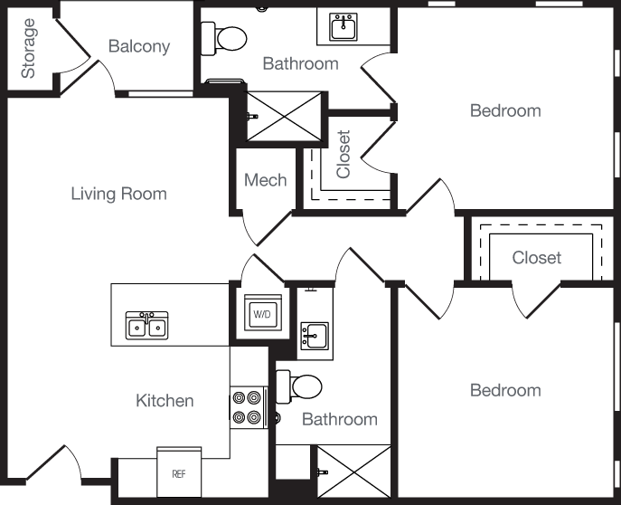 915 sq. ft. 2D floor plan