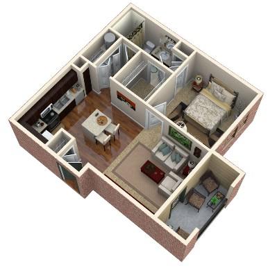 675 sq. ft. Jade floor plan