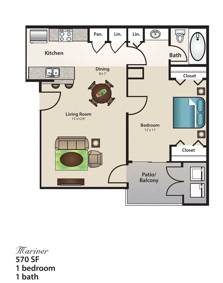 570 sq. ft. Mariner floor plan