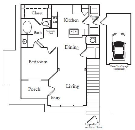 854 sq. ft. A2U floor plan