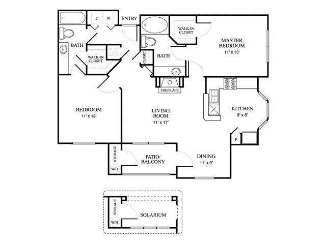 1,051 sq. ft. Lodge floor plan