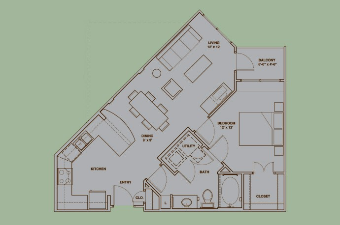 731 sq. ft. A1 floor plan