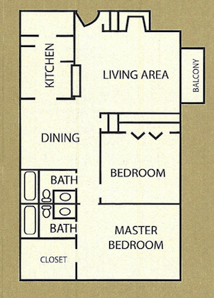 950 sq. ft. Worthington floor plan