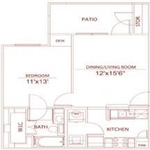 615 sq. ft. A2 wembury floor plan