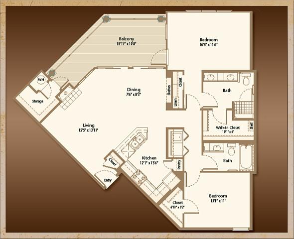 1,220 sq. ft. B2B floor plan