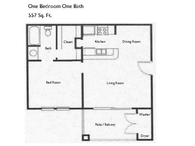 557 sq. ft. A1 floor plan