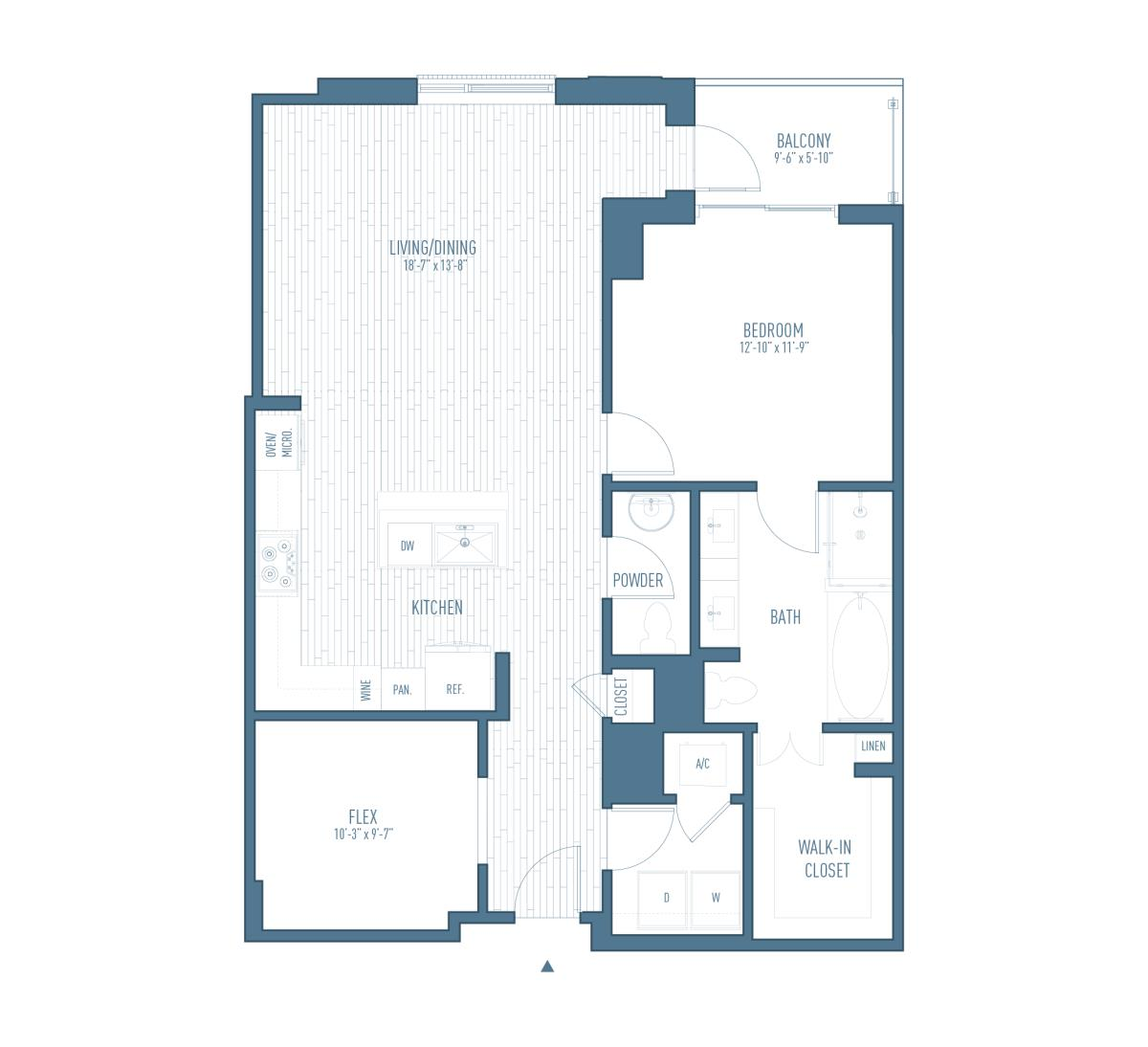 1,126 sq. ft. A16/Flex floor plan