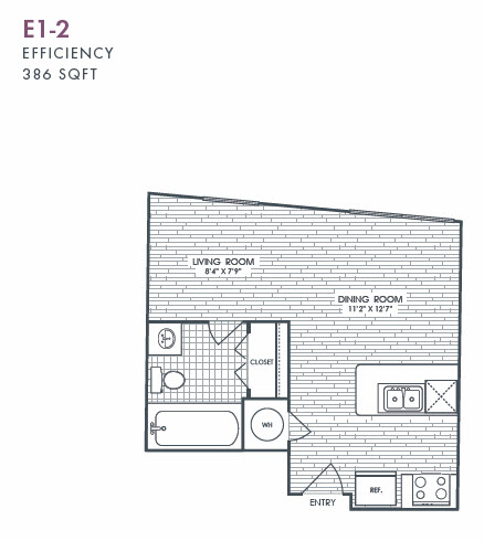 386 sq. ft. E1-2 floor plan