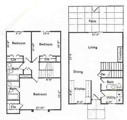 1,398 sq. ft. C2 floor plan