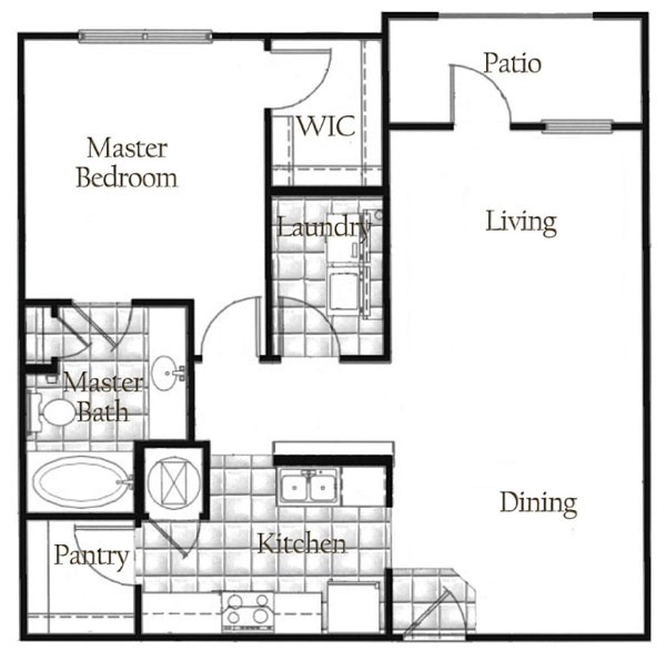 882 sq. ft. floor plan