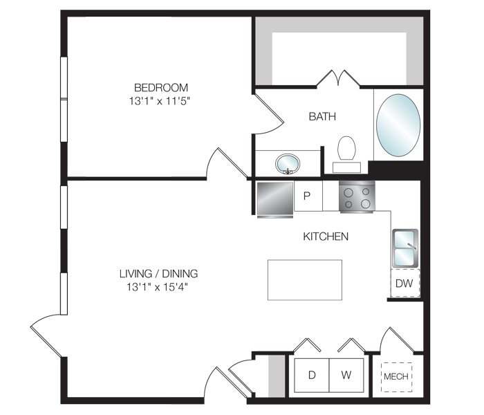 728 sq. ft. A3.1 floor plan