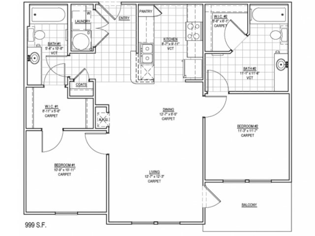 999 sq. ft. 60% floor plan