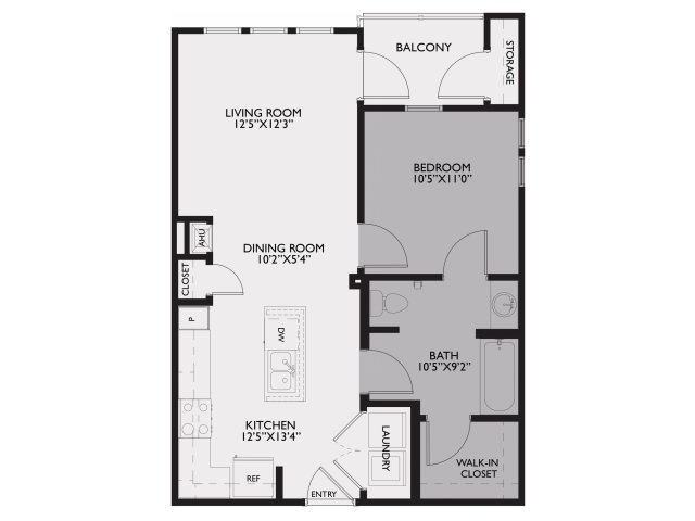 656 sq. ft. Abbey/60% floor plan