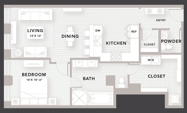 1,000 sq. ft. A9 floor plan