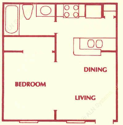 370 sq. ft. A floor plan