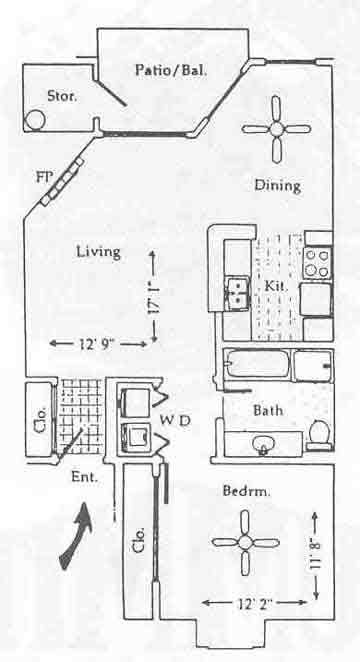 806 sq. ft. A-1 floor plan
