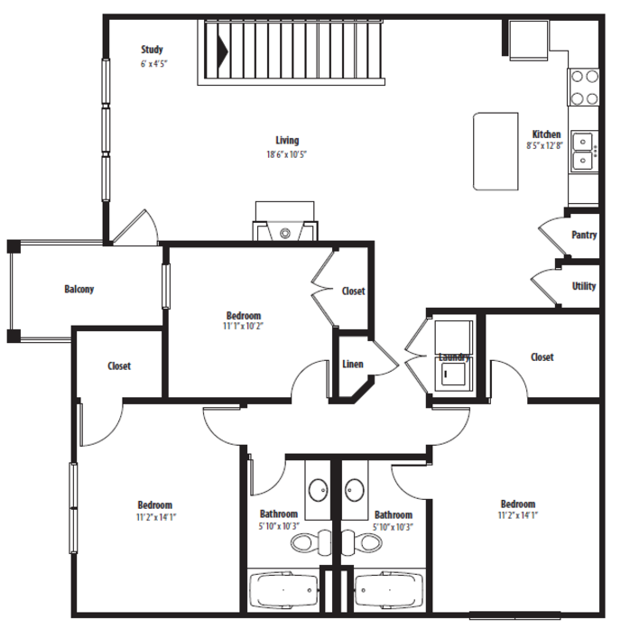 1,404 sq. ft. C1U floor plan