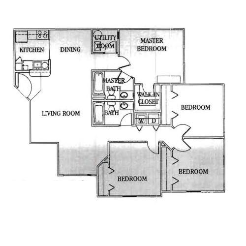 1,364 sq. ft. 30% floor plan