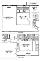 1,350 sq. ft. floor plan