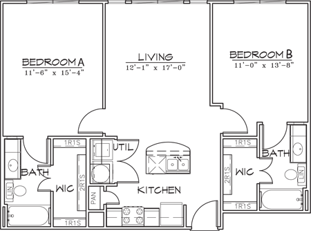 914 sq. ft. floor plan