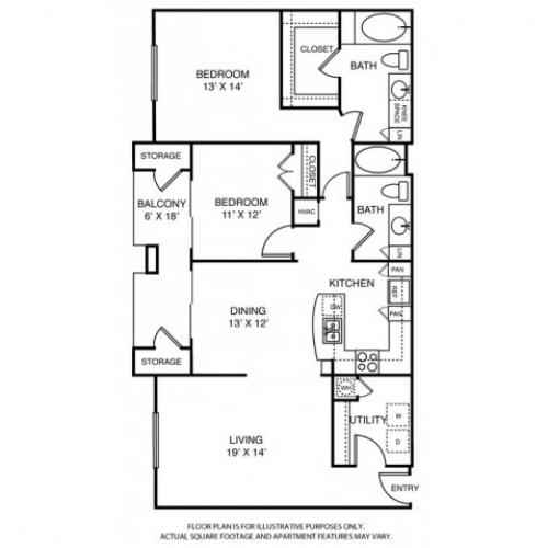 1,460 sq. ft. PH1 floor plan