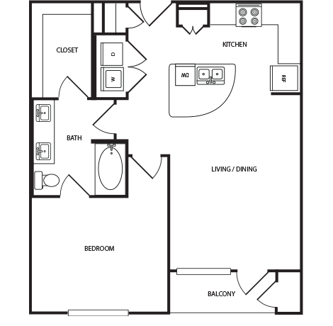 782 sq. ft. A5 floor plan