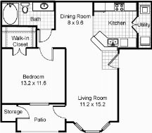 688 sq. ft. Hill floor plan