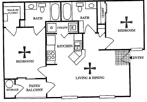 879 sq. ft. B2 floor plan